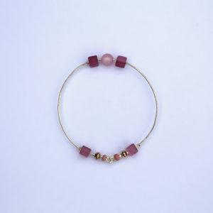 Bracelet jonc en argent massif avec perles en argent massif et perles Polaris Hanaya bijoux artisanaux de la créatrice Véronique Rident, Valence
