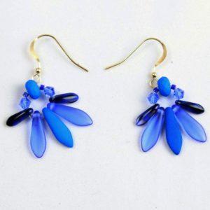 Boucles d'oreilles Hanaya-bijoux, Lune bleue, faites de dagues et de perles de cristal de Bohême