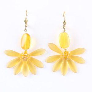 Boucles d'oreilles Soleil d'ambre, faites de dagues et de perles de cristal de Bohême. Pièces uniques de Véronique RIDENT, créatrice de bijoux à Valence.