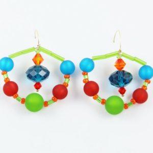Boucles d'oreilles en perles Polaris et SWAROVSKI® ELEMENTS sur fil gold filled, pièces uniques de Véronique RIDENT, créatrice française installée à Valence