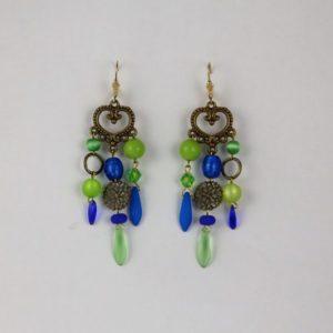 Boucles d'oreilles Hanaya bijoux, cristal de Bohême, SWAROVSKI® ELEMENTS, perles de Murano ou en porcelaine, attaches dormeuses gold filled 14K.