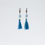Boucles d'oreilles à pompon bleues
