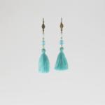 Boucles d'oreilles à pompon turquoise