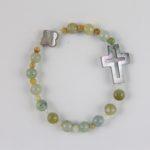 Bracelet dizainier Hanaya Bijoux en jade et nacre, monté sur élastique.
