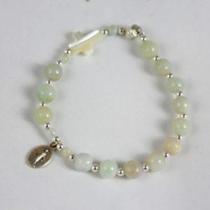 Bracelet dizainier Hanaya Bijoux, en pierre de jade et argent 925, croix en nacre et médaille miraculeuse en argent massif