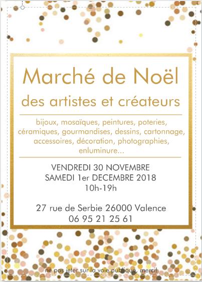 Tract du Marché de Noël 2018 des artistes et créateurs organisé par Véronique Rident, créatrice d'Hanaya Bijoux et Art'Drôme.