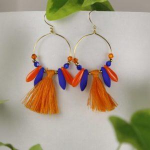 Boucles d'oreilles Hanaya Bijoux, créées par Véronique Rident, créatrice de bijoux à Valence, dans la Drôme. Collection printemps été 2019.