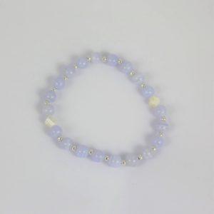 Bracelet dizainier calcédoine, nacre et perles d'argent 925, Hanaya Bijoux, fabriqué par Véronique Rident, créatrice de bijoux à Valence.